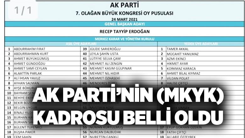 AK Parti'nin (MKYK) kadrosu belli oldu.